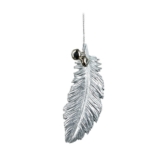 Hanging Silver Feather Decoration With Bells