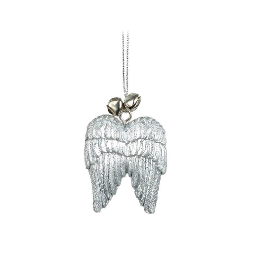 Hanging Silver Angel Wings Decoration With Bells - Two supplied