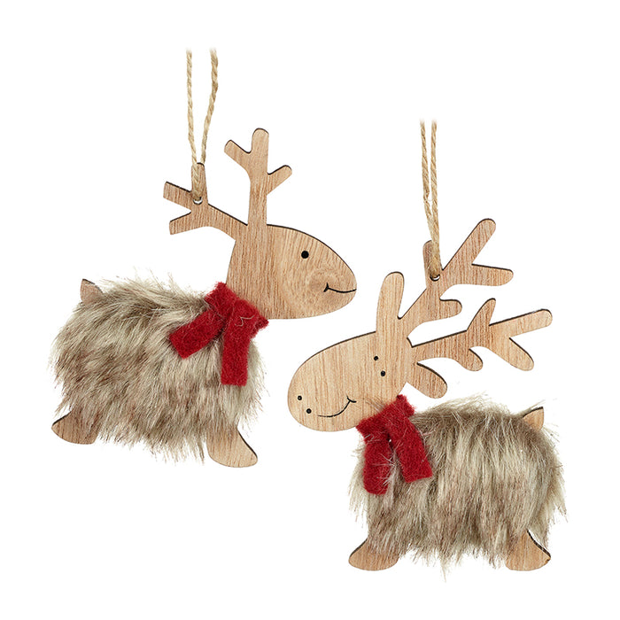 Pair of Fluffy Reindeer hanging Christmas Tree Decorations