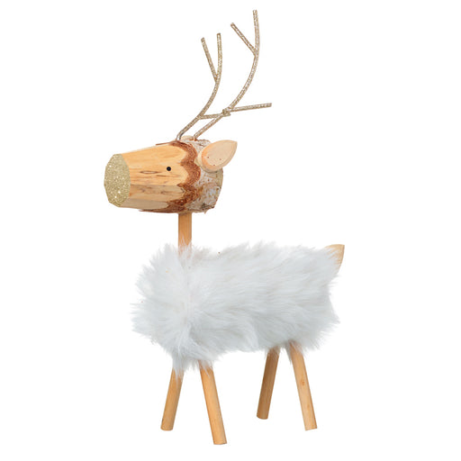 Log Reindeer Fluffy Standing Christmas Figure