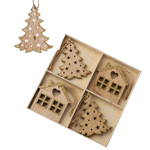 Gold Glitter Trim Wooden Tree Decorations - Tree and House Shaped