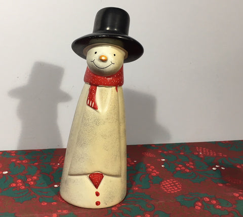 Tall Snowman Large Natural Soapstone Ornament - 18cm