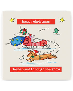 Dashshund Christmas Card - Dashshund through the snow