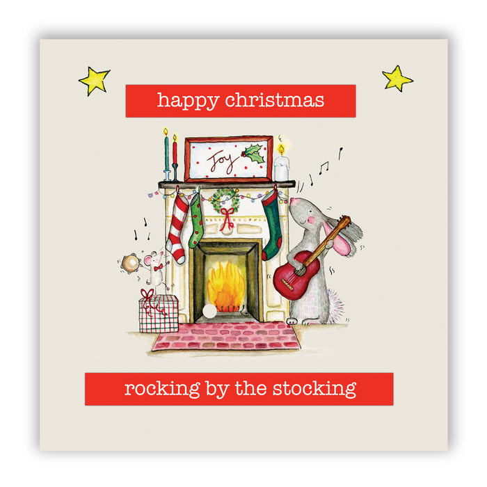 Hare Christmas Card - Rocking by the Stockings
