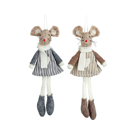 Felt Mice, Shelf Sitting Pair of Grey and Brown Mice