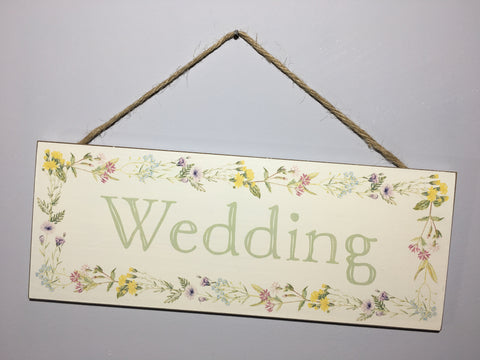 Wedding Plaque - Wildflowers Hanging Sign