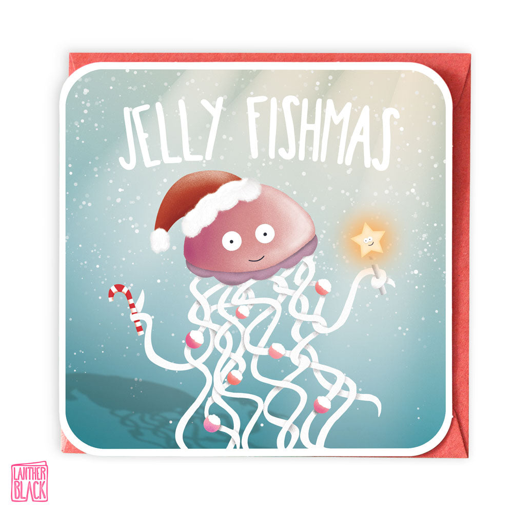 Jelly Fishmas - Fun Christmas Card from Lanther Black