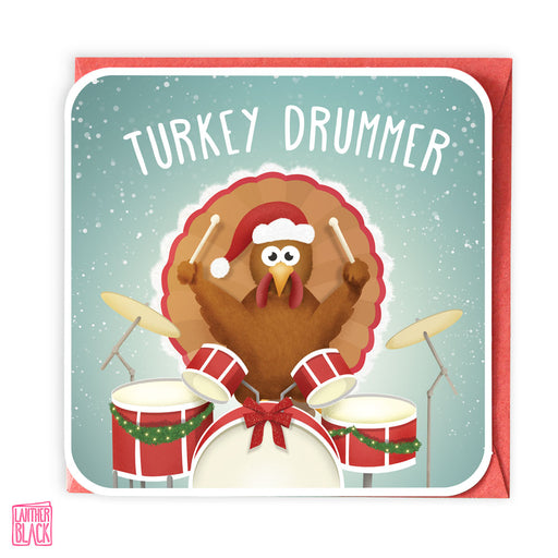 Turkey Drummer - Fun Christmas Card from Lanther Black