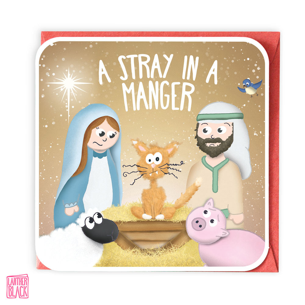 A Stray in a Manger - Fun Christmas Card from Lanther Black