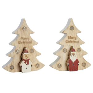 Wooden Christmas Tree with Pop-out Santa or Snowman