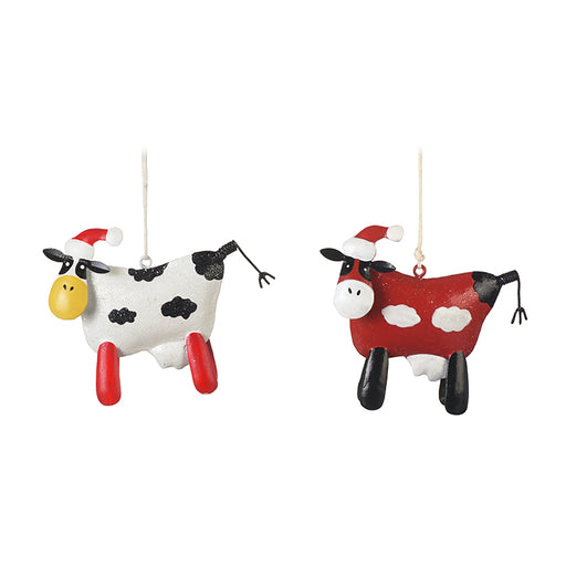 Pair of Metal Cow Christmas Tree Decorations