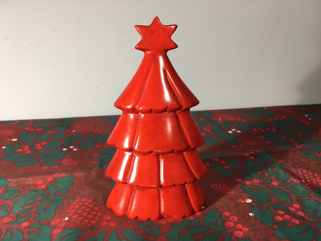 Christmas Tree Natural Soapstone Ornament - 13cm