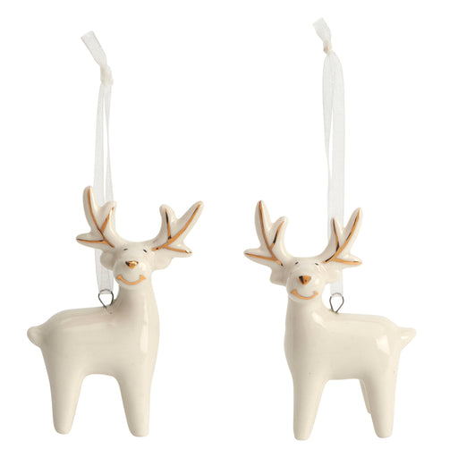 Hanging Ivory Reindeer Pair with gold finish Tree Decorations