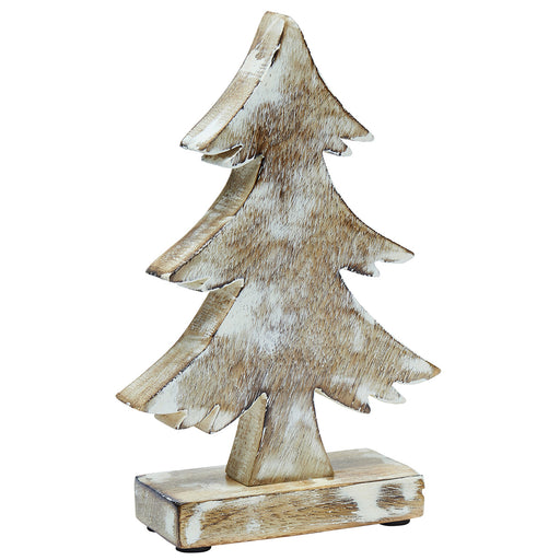 Carved Wooden Christmas Tree - 20cm