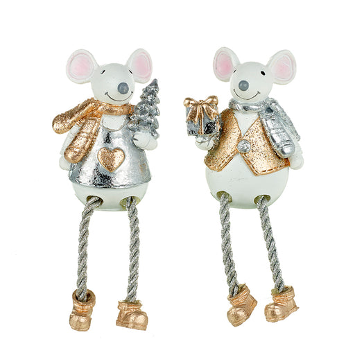 Christmas Mice, White Silver and Gold Sparkly Shelf Sitting Pair