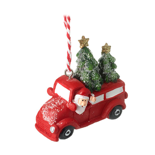 Santa in Truck Bauble with Christmas Trees - Novelty Christmas Tree Decoration