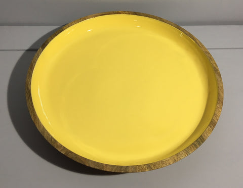 Yellow Enamelled Wooden Serving Plate