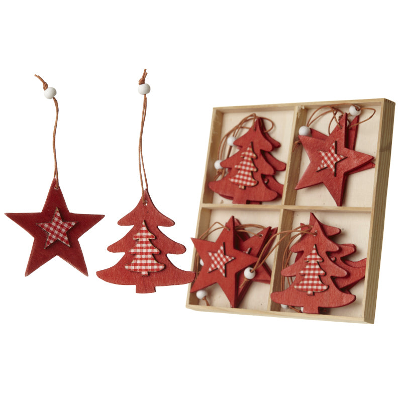 Christmas Tree Decorations - Red and White Gingham Wooden Stars and Trees - Set of 12