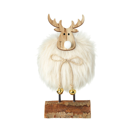 Large Fluffy Reindeer Standing Christmas Figure