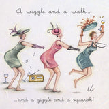 Wine Greeting Card - A wiggle and a walk...  Berni Parker