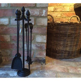 Fireplace Companion Set -  Acorn Design Black