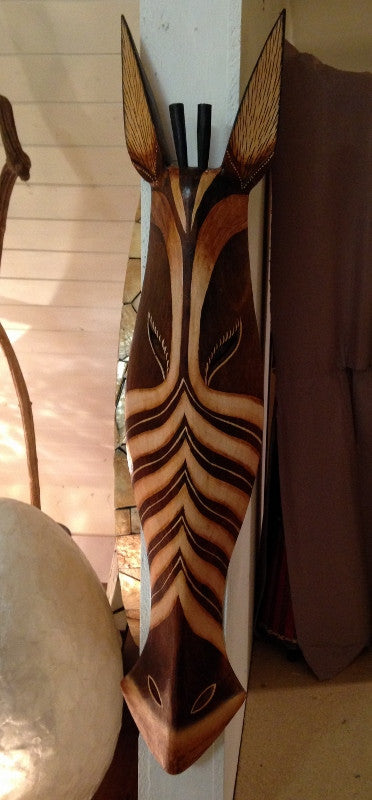 Hand Carved Brown Zebra Tribal Mask - 80cm