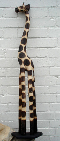 Hand Carved Wooden Giraffe - 100cm Gloria