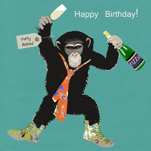 Monkey Birthday Card, Party Animal. From Sally Scaffardi Design