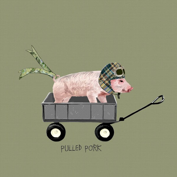 Pig Birthday Card, Pulled Pork. From Sally Scaffardi Design