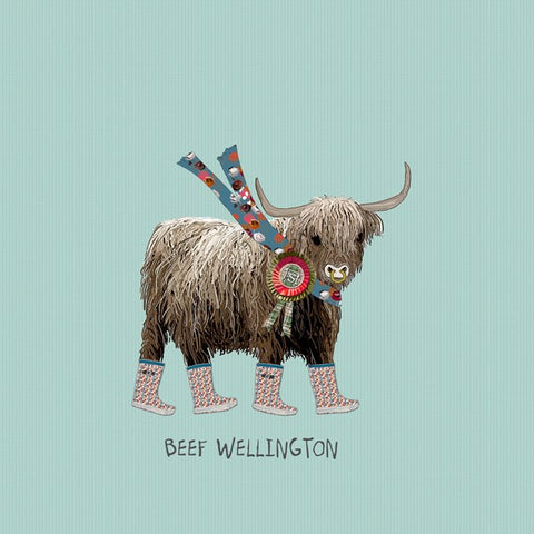 Cow Birthday Card, Beef Wellington. From Sally Scaffardi Design