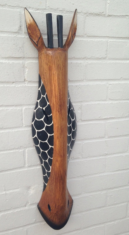 Hand Carved Brown/Black Wooden Giraffe Tribal Mask - 80cm