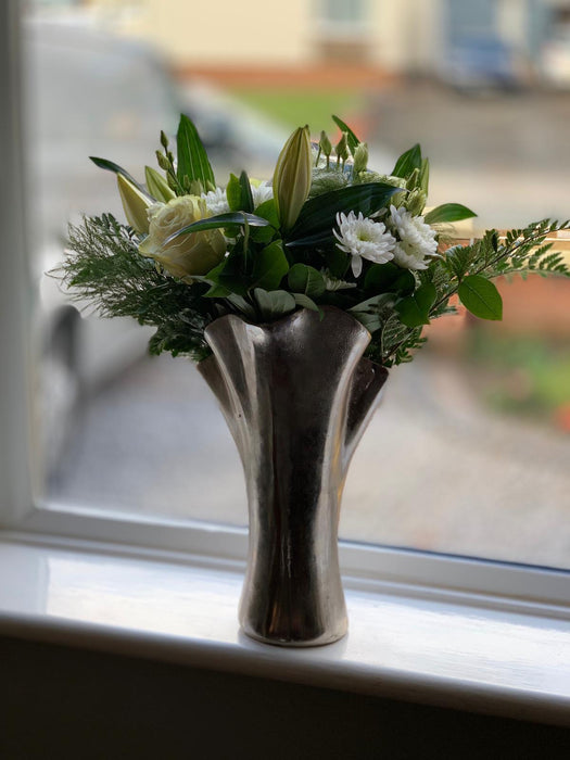 Flower Top Decor Vase Silver Finish - Wilde Java