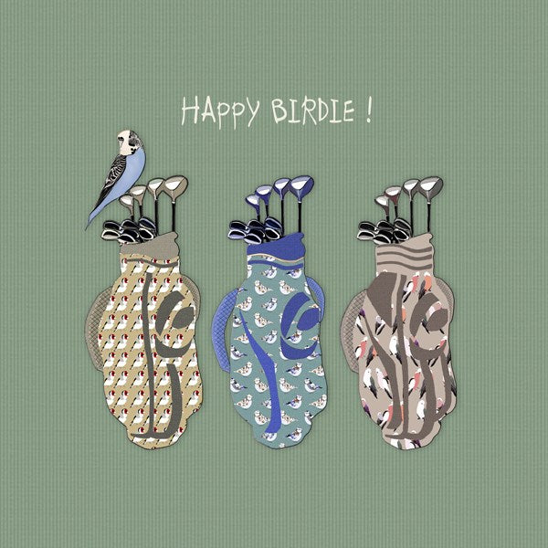 Golf Birthday Card, Happy Birdie. From Sally Scaffardi Design