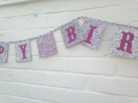Happy Birthday Bunting - Vintage Floral Fabric