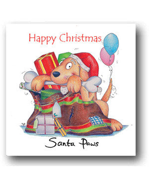 Funny Dog Christmas Card - Santa Paws
