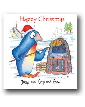 Funny Penguin Christmas Card - Deep Pan