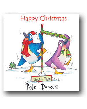 Funny Penguin Christmas Card - Pole Dancers