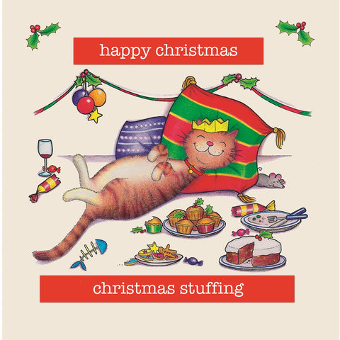 Cat Christmas Card - Christmas Stuffing