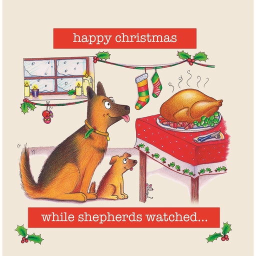Funny Dog Christmas Card - While Shepherds Watched