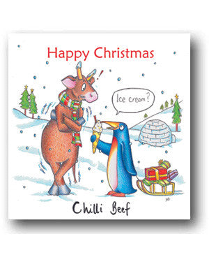 Funny Cow Christmas Card - Chilli Beef