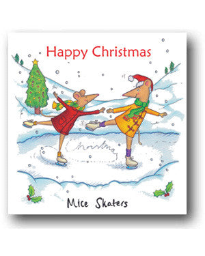 Funny Mice Christmas Card - Mice Skaters