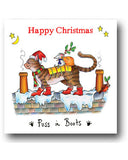 Funny Cat Christmas Card - Puss In Boots