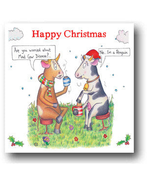 Funny Cow Christmas Card - Are you worried about Mad Cow Disease?