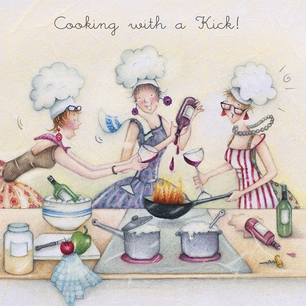 Greeting Card - Cooking with a Kick!  Berni Parker