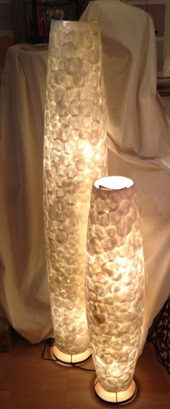 Ivory Shell Torpedo Floor Lamps