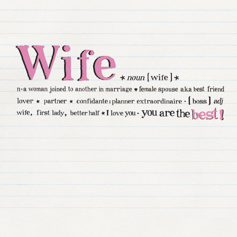 Wife Card - Bees Knees Greeting Card