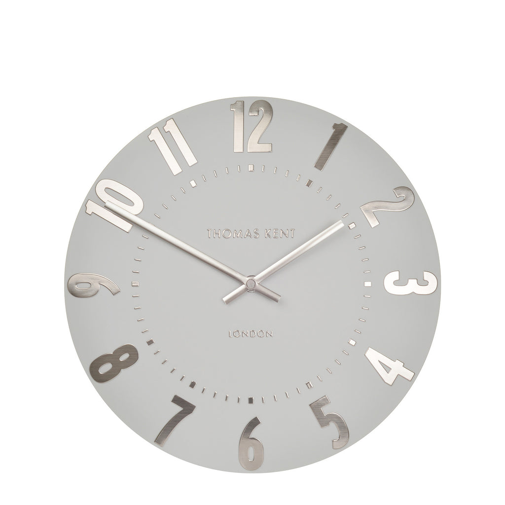 NEW - Thomas Kent Mulberry Silver Cloud Wall Clock -12inch