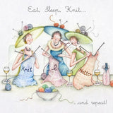 Knitting Card - Eat, Sleep, Knit...and repeat! - Berni Parker