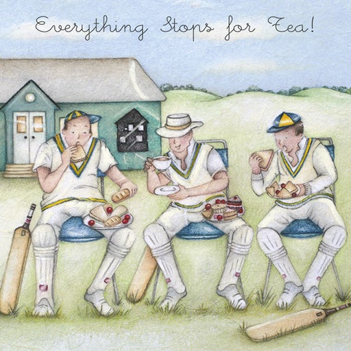 Cricket Birthday Card - Everything Stops for Tea! - Berni Parker