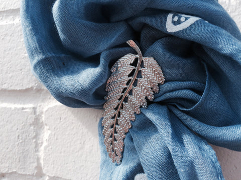 Fern Leaf Scarf Ring - Pewter